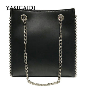 YASICAIDI Girls PU simple solid color beaded fashion chain stereo style trend wild single shoulder hand shopping dating bag