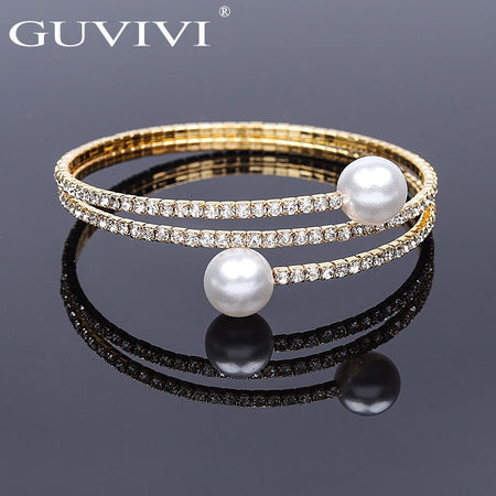 Guvivi Fashion Crystal Pave Open Wrist Bracelets For Women Girls Luxury Imitation Pearl Gold Silver Bracelets Bangles Jewelry