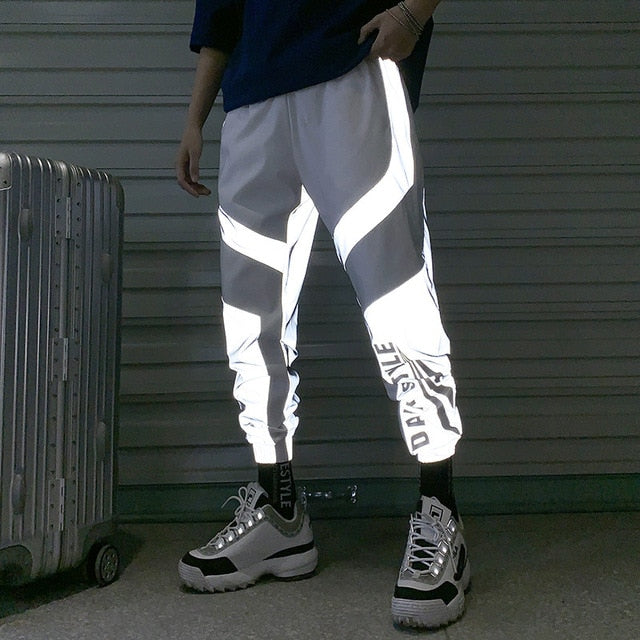Riinr 2019 New Summer Men Women Sweatpant Flash Reflective Pants Joggers Hip Hop Dance Show Party Night Jogger Baggy Trousers