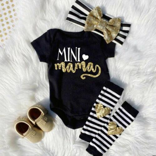 0-18M Baby Girl Bodysuit Letter Short Sleeve Striped Heart Leg Warmer Headband Outfits