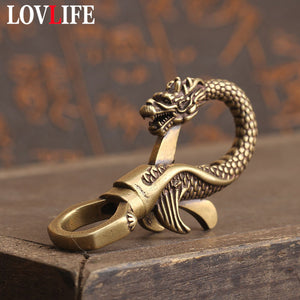 Copper Dragon Head Keychain Antique Craft Key Chains Lobster Clasps Keyring Waist Buckle Brass Metal Vintage Car Key Holder Gift