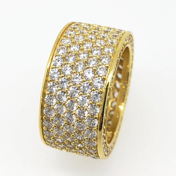.925 Silver Thick 360 Eternity Band CZ Gold Bling RIng