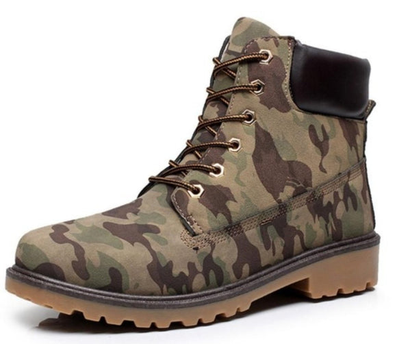 Mens Army Style Camouflage Outdoor Waterproof Boots