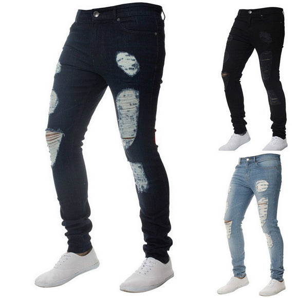 HEFLASHOR | Men's Jean Wear | Skinny Slim Ripped Pants