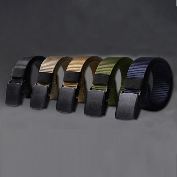 Men Female Belts Military Nylon Adjustable Belt Men Outdoor Travel Tactical Waist Belt with Plastic Buckle for Pants 130cm 2019