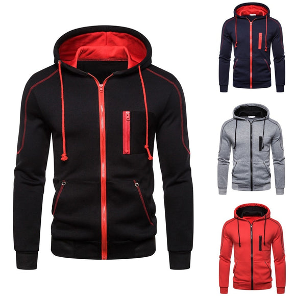 Men's Hoodies | Long Sleeve Hooded Sweatshirt with Zipper | Outwear