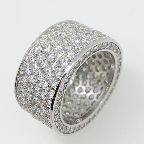 .925 Silver 360 Thick Eternity Band CZ Ring in Rhodium