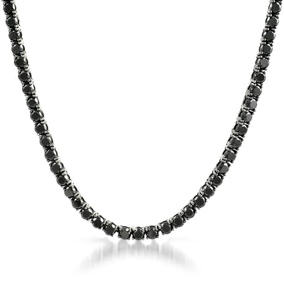 .925 Sterling Silver 3MM CZ Tennis Chain Black