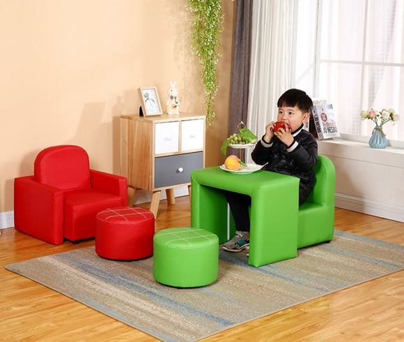 Multi functional children's sofa leather easy to clean small sofa boy girl cute baby sofa chair combination sofa for kids
