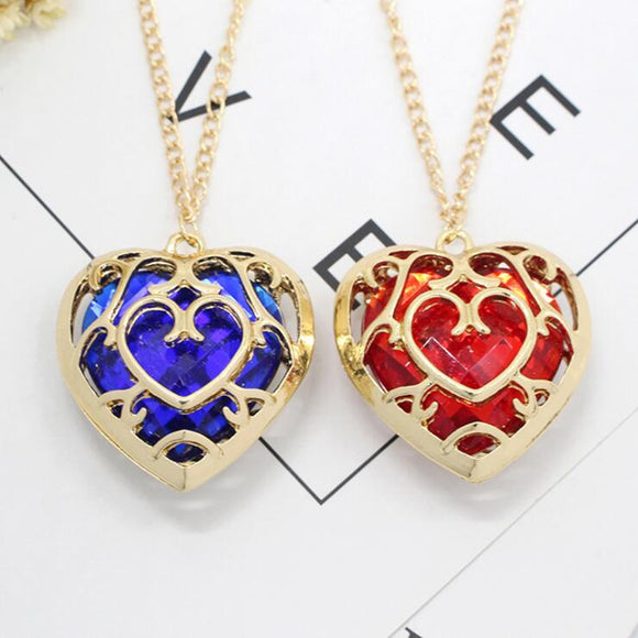 Game The Legend of Zelda Cosplay Red Blue Heart Necklace Pendant jewelry