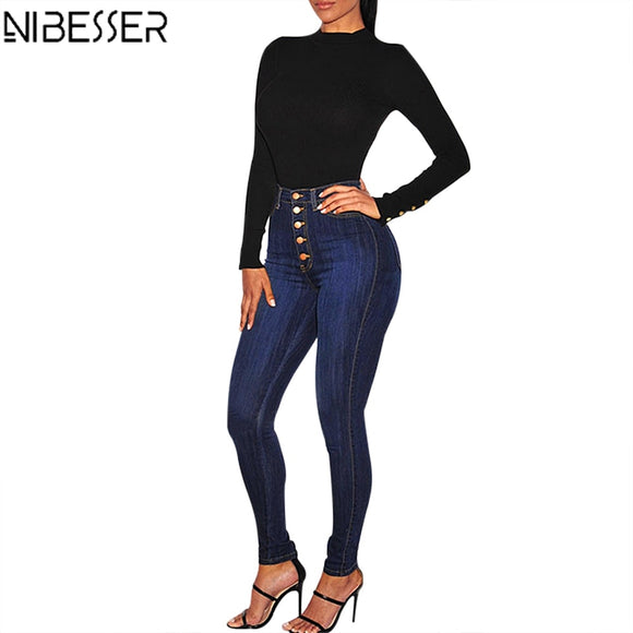 NIBESSER Fall 2019 Stretch High Waist Jeans Women Warm Winter Casual Straight-breasted Denim Pants Femme Denim Trouser Plus Size