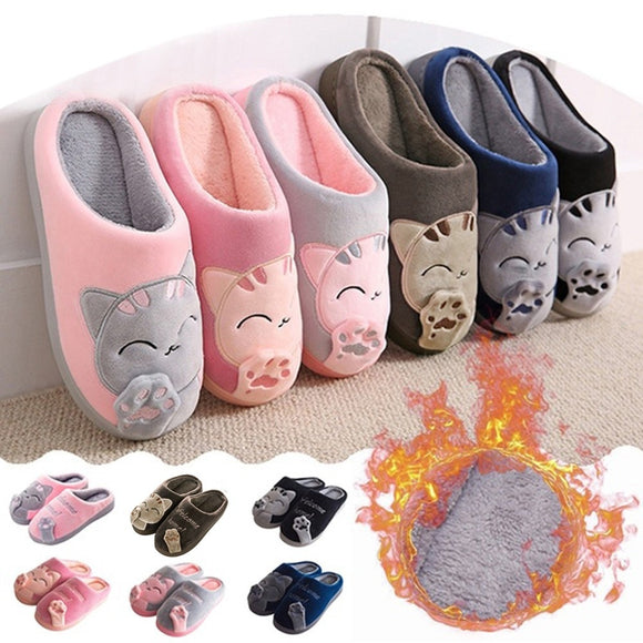 Men Winter Indoor Shoes Women Warm Unisex Home Slippers Couples Bedroom Cartoon Cat Non-slip Soft Bottom Women and Men Slippers