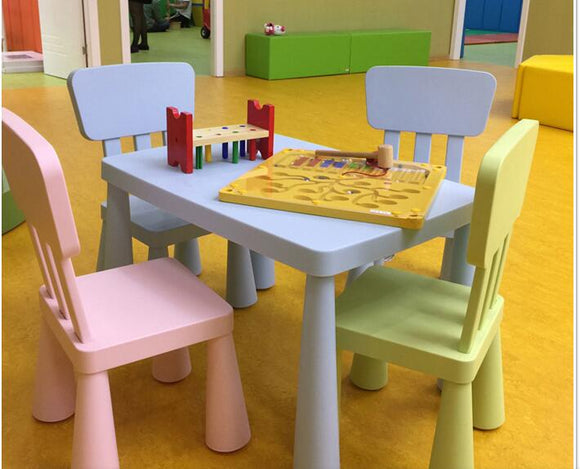Children's tables and chairs, with thick rectangular table
