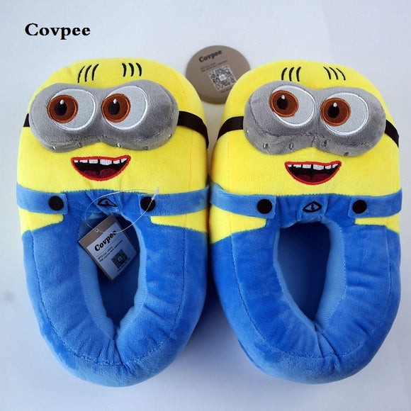 3D minions slippers women's Winter Warm slippers Despicable Minion Stewart Figure Shoes Plush Toy Home Slipper One Size Doll