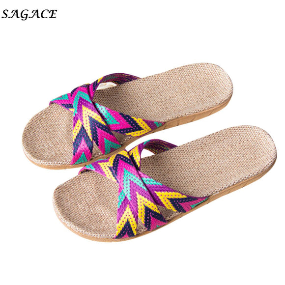 SAGACE 2018 shoes Women Men Anti-slip Linen Home Indoor Summer Open Toe Flats Shoes Slippers sapato calzado zapatos mujer