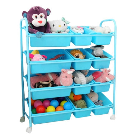 Children's toy storage rack toy finishing rack multi-layer with roller baby toy rack toy storage cabinet storage box