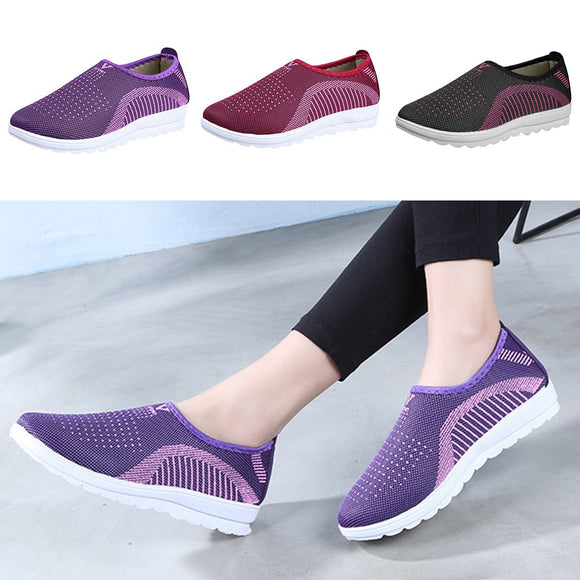 Vulcanized Shoes Autumn Mesh Flat With Loafers Plus Size Cotton Women Flats Casual Walking Stripe Sneakers For Female #N