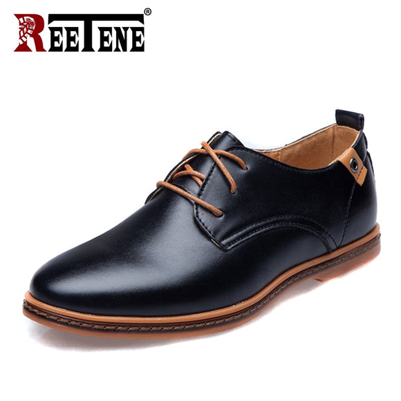 REETENE Leather Casual Men Shoes Fashion Men Flats Round Toe Comfortable Office Man Dress Shoes Wedding Oxford Shoes For Men