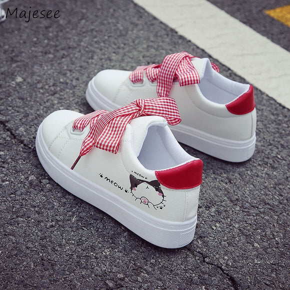 Vulcanize Shoes Women Non-slip Simple Cartoon Cute Trendy Outside Womens Breathable Flat with Students Shoe Ladies Damping Chic