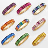 2019 hot sale rainbow ring thin line micro pave cz eternity 9 colors stack 925 silver rainbow cz rings