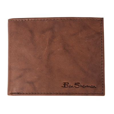 Ben Sherman Full Grain Cowhide Marble Crunch Leather Passcase Wallet With Flip Up Id Window (Rfid) - 1605