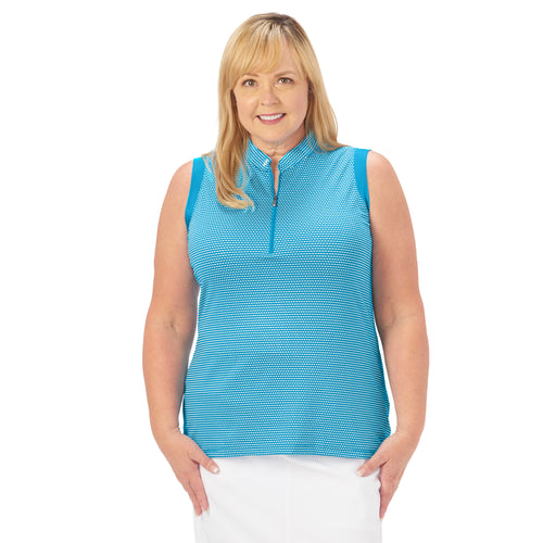 Ladies Nancy Lopez Golf Flex Sleeveless Polo Plus Peacock / White