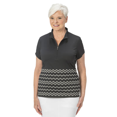 Ladies Nancy Lopez Golf Warrior Short Sleeve Polo Black / White