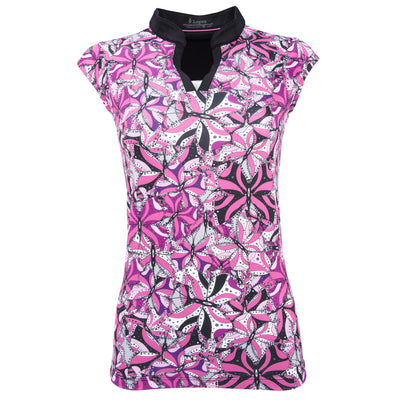 Ladies Nancy Lopez Golf Hope Sleeveless Polo Plus Hot Pink Multi