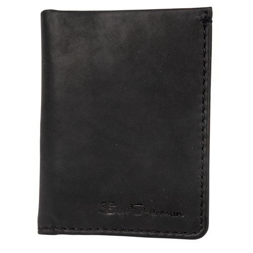 Ben Sherman Full Grain Cowhide Marble Crunch Leather Slim Bifold Card Wallet (Rfid) - 16485