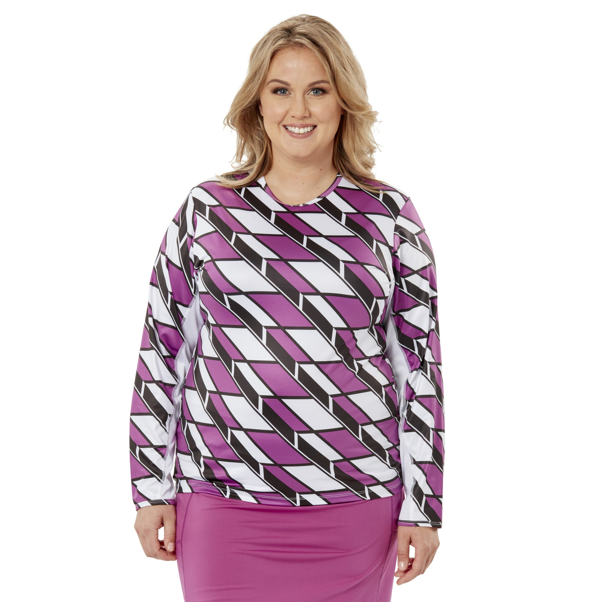 Ladies Nancy Lopez Golf Aspiration Long Sleeve Tee Plus White Multi