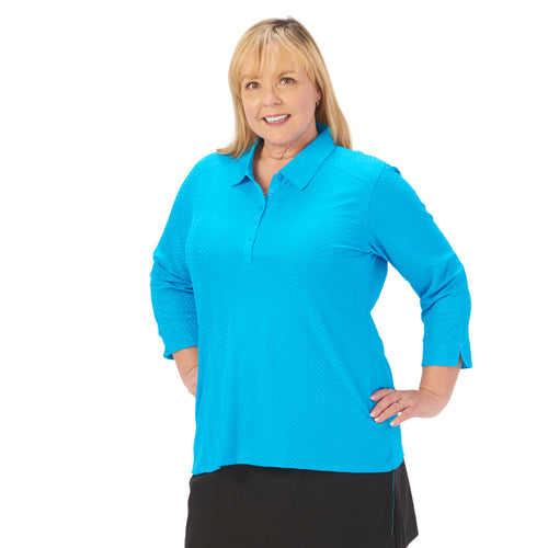 Ladies Nancy Lopez Golf Grace 3/4 Sleeve Polo Plus Peacock