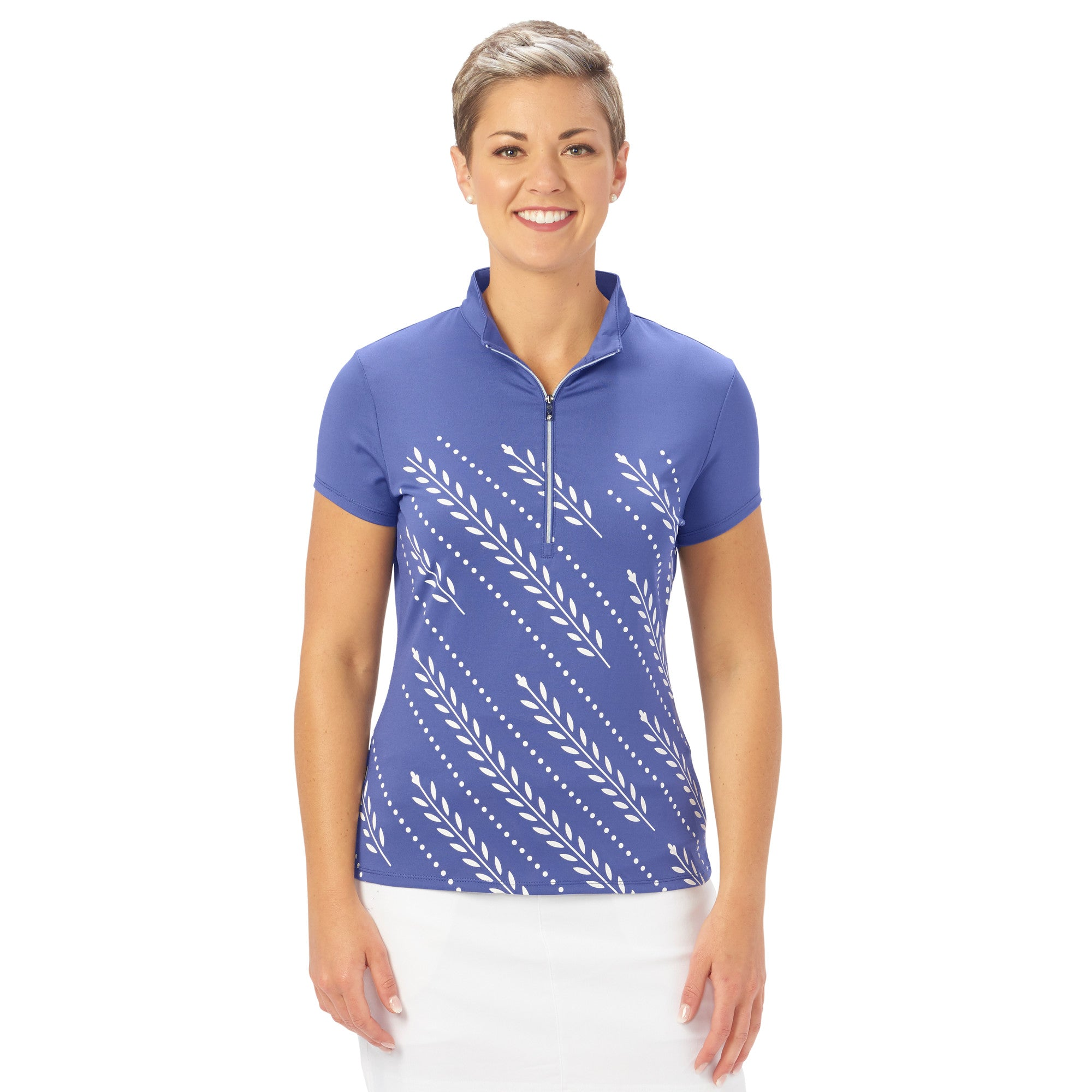 Ladies Nancy Lopez Golf Carefree Short Sleeve Polo Midnight/White