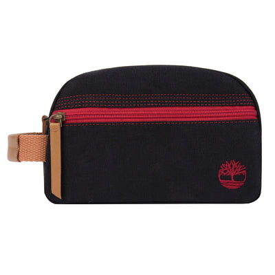 Timberland Canvas Travel Kit Leather Trim BLACK