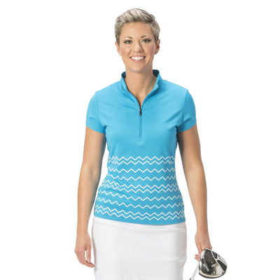 Ladies Nancy Lopez Golf Warrior Short Sleeve Polo Peacock / White