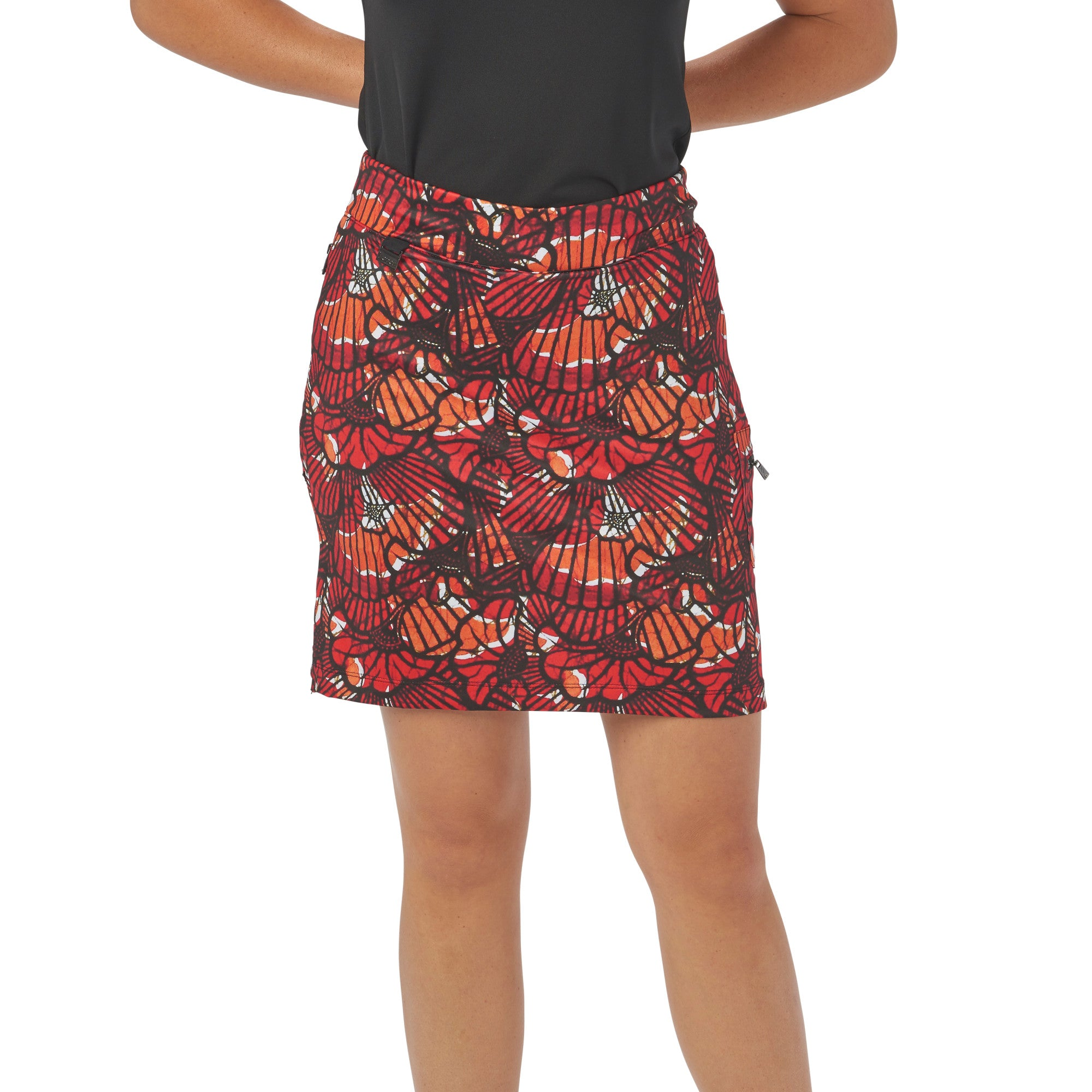 Ladies Nancy Lopez Golf Wave Print Club Skort Fiery Red Multi