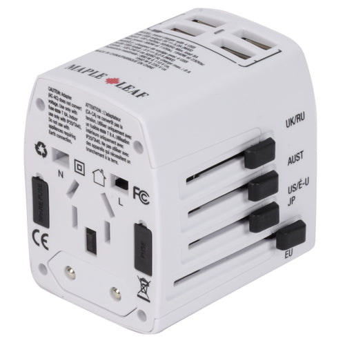 Maple Leaf Universal Travel Adaptor With 4 Usb Ports - MLT6310WH
