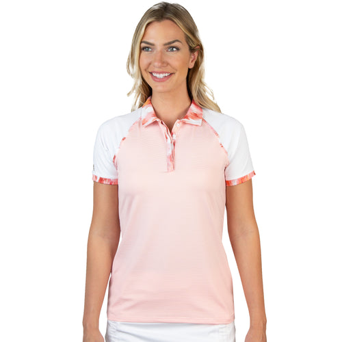 Ladies Antigua Futura Short Sleeve Polo Coral Multi / White