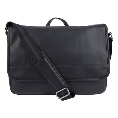 "Ben Sherman Slouchy Faux Leather Single Compartment Flapover 15.0"" Laptop Messenger Bag - BS13025502"