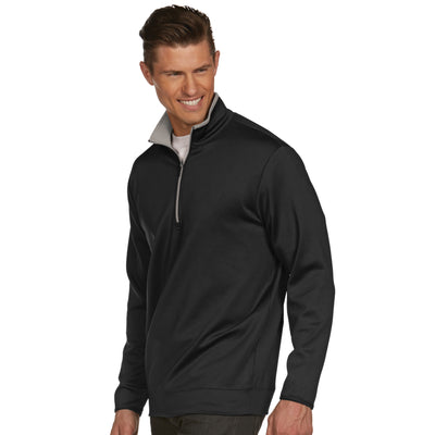 Mens Antigua Leader Pullover Black / Silver