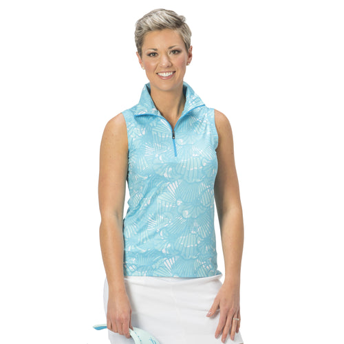 Ladies Nancy Lopez Golf Wave Sleeveless Polo Peacock Multi