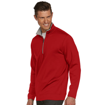 Mens Antigua Leader Pullover Dark Red / Silver