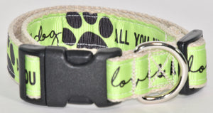 "1"" HEMP COLLAR PAWS COLLECTION"