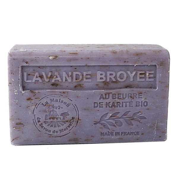 Lavender Flowers Exfoliating French Soap with organic Shea Butter 125g