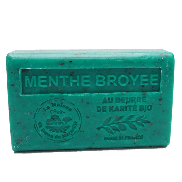 Exfoliating Mint French Soap with organic Shea Butter 125g