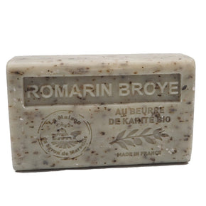 Exfoliating Rosemary (Romarin Broye) Exfoliating French Soap with organic Shea Butter 125g