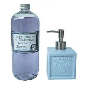 Gift set - Lavender Marseille soap and Lavender ceramic cube dispenser