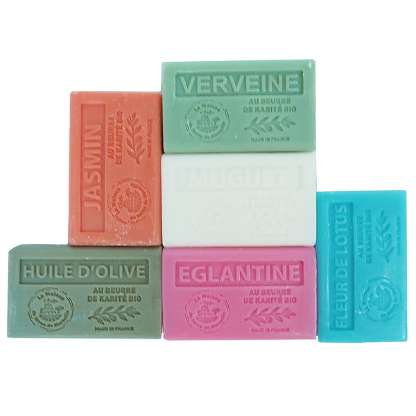 6 Pretty Marseille Guest Soap with organic Shea Butter 60g