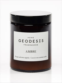 Amber Glass Jar Candle by Geodesis (made with natural Coconut Wax)