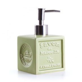 Ceramic Soap Dispenser - Savon de Marseille cube in Olive