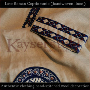 Authentic clothing - Handwoven, hand-stitched late-Roman Tunic (linen, blue pattern)